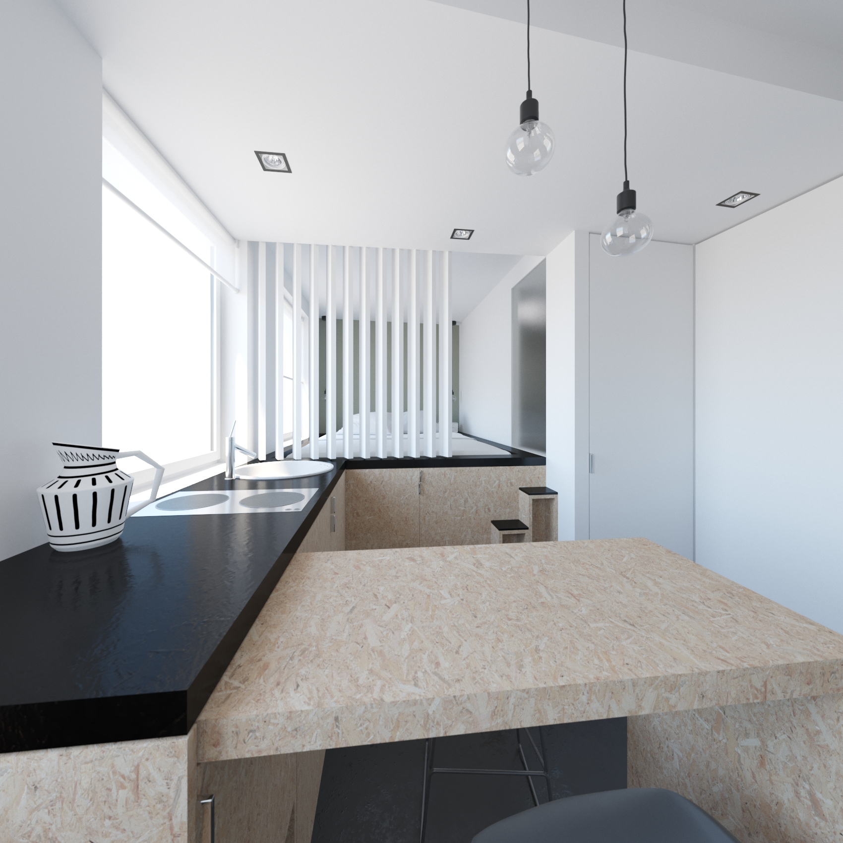 amenagement d 39 un studio ekarchitecte. Black Bedroom Furniture Sets. Home Design Ideas
